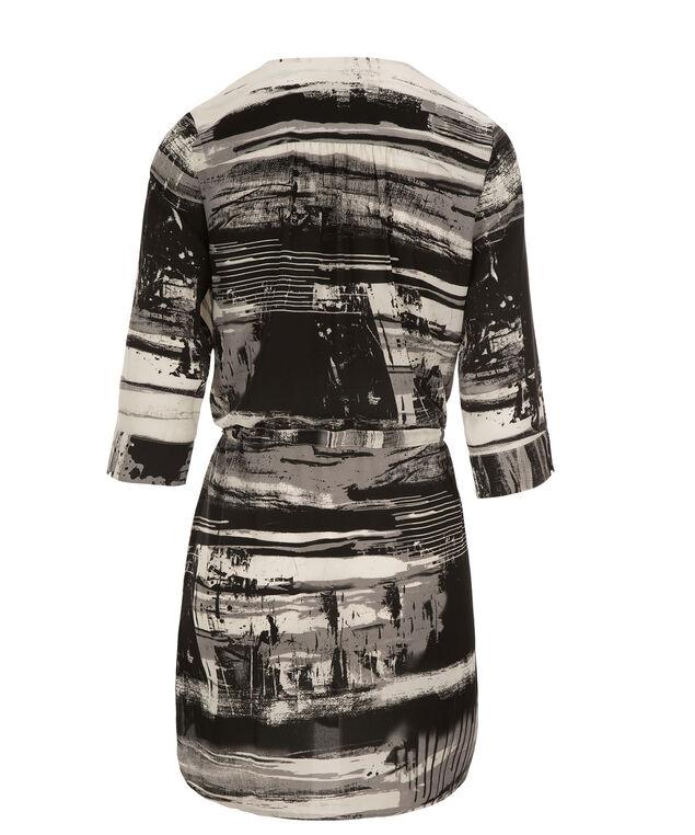 Drawstring Tunic Blouse, Black/Grey Print, hi-res