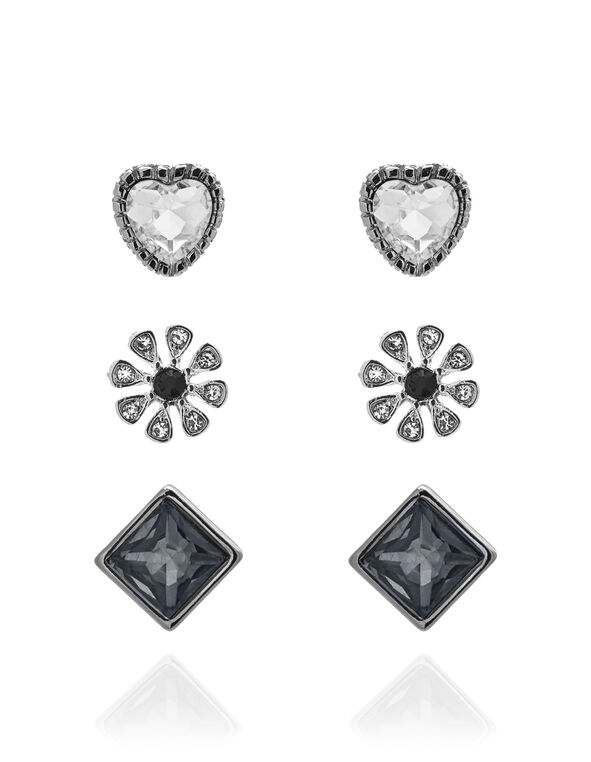 Mixed Crystal Trio Earring Set, Silver/Black, hi-res