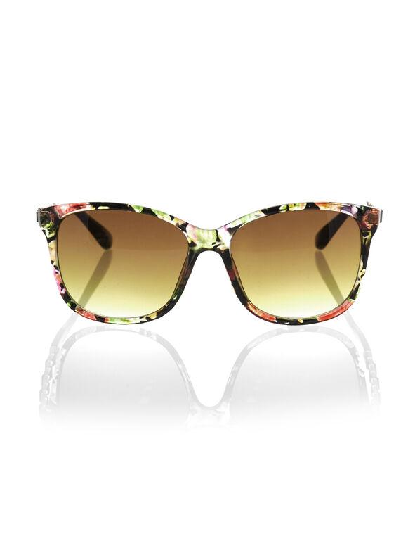 Black Floral Wayfarer Sunglasses, Black, hi-res