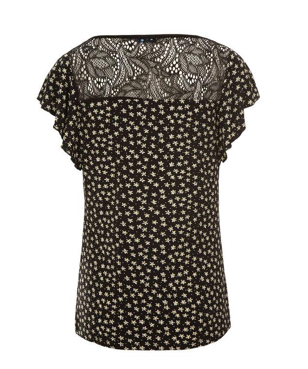 Flutter Sleeve Crochet Back, Black Print, hi-res