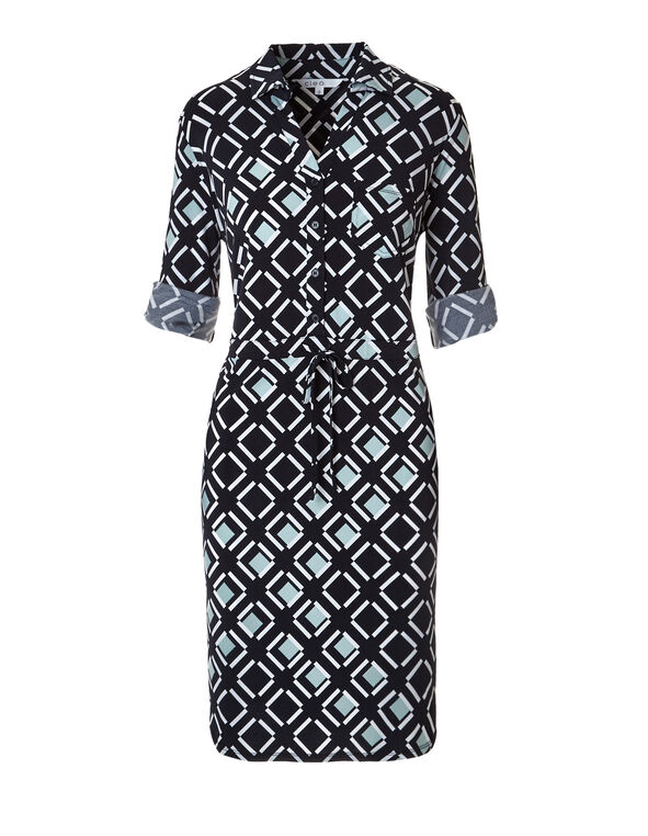 Navy Print Shirt Dress, Navy/Mint/White, hi-res