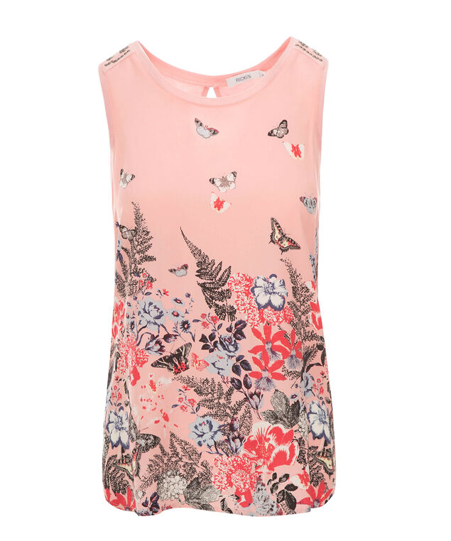 Shoulder Detail Tank, Soft Coral Print, hi-res
