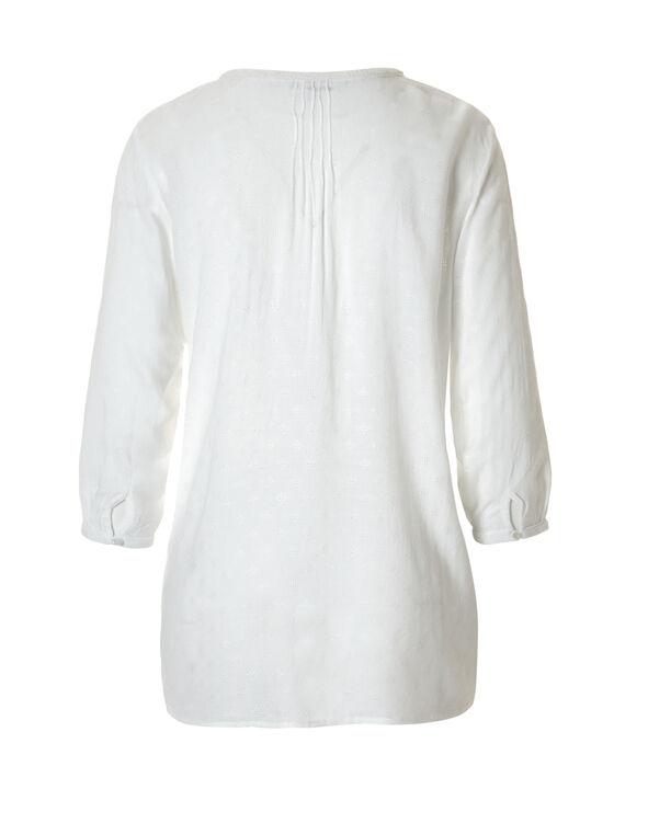 White Peasant Blouse, White, hi-res