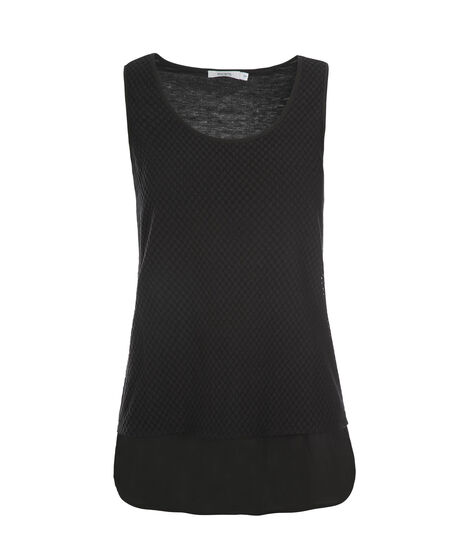 Chiffon Hem Textured Tank, Black, hi-res