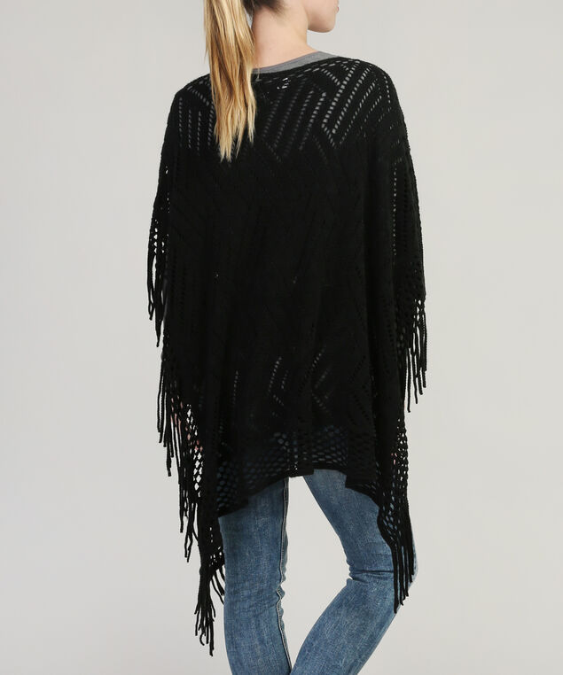 pointelle stitch poncho with fringe, BLACK, hi-res