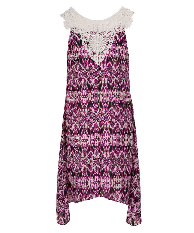 Crochet Sharkbite Dress, White/Purple, hi-res