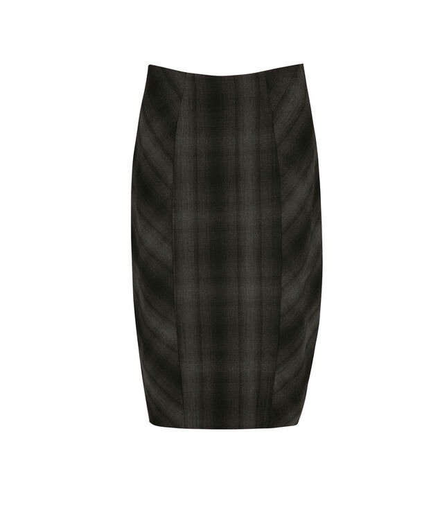 Plaid Pencil Skirt, Charcoal, hi-res