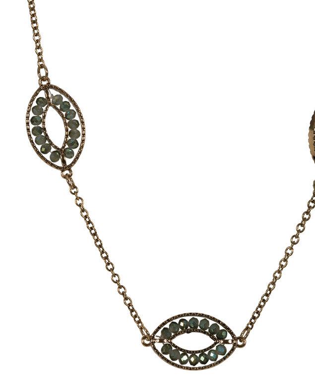 Iridescent Bead Necklace, Antique Gold, hi-res