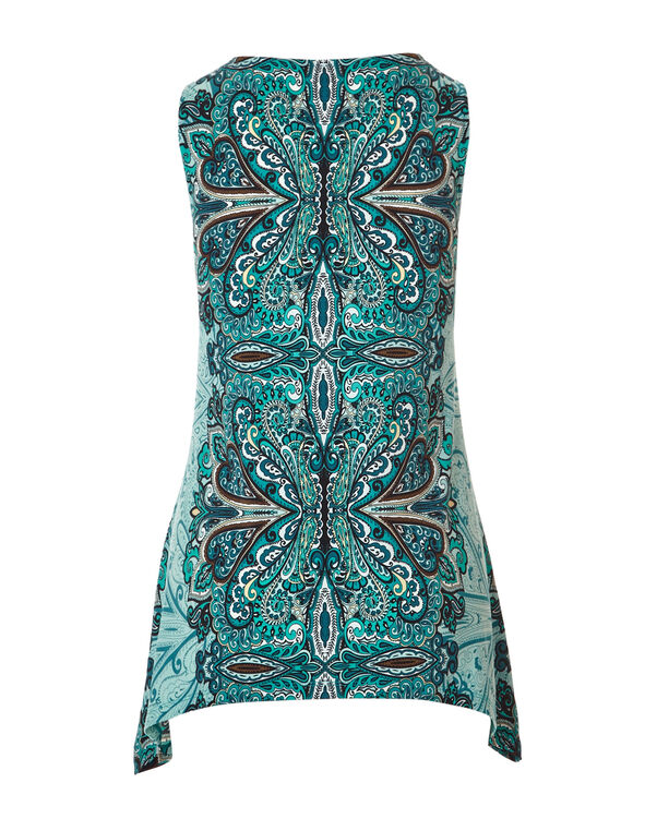 Mint Print Sleeveless Tunic, Mint/Rio Frio/Navy, hi-res