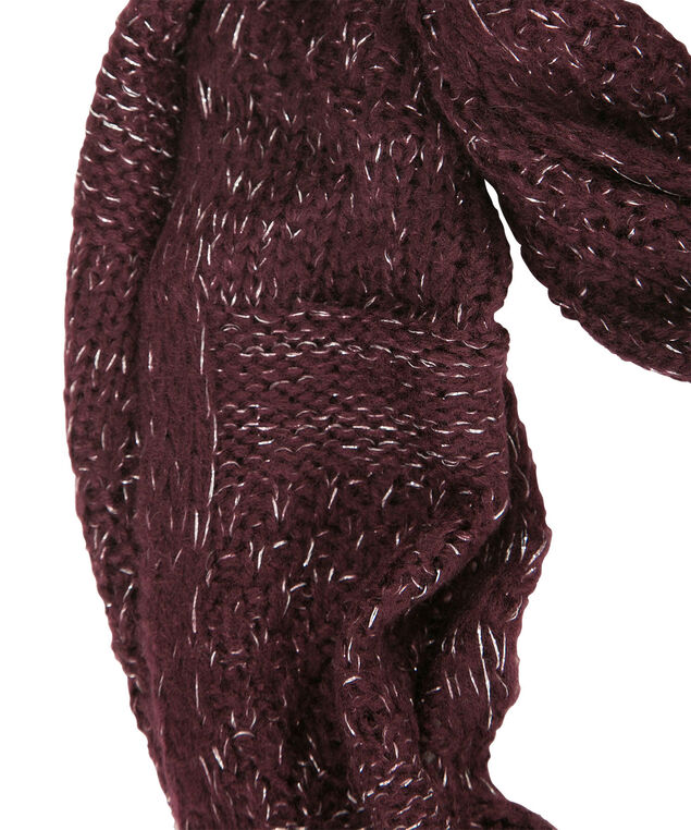 Crochet Knit Lurex Scarf, Wineberry, hi-res