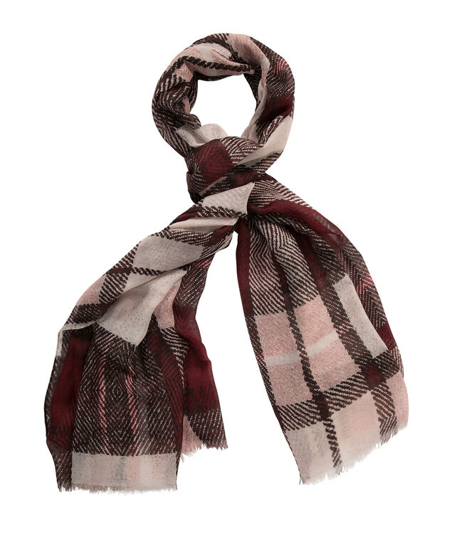 Plaid Scarf, Burgundy/Pink, hi-res