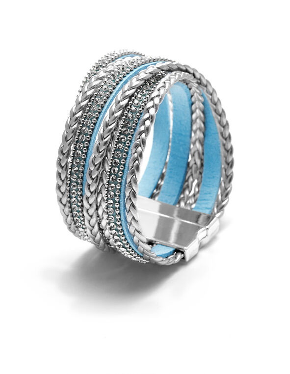 Blue Wrap Cuff Bracelet, Blue/Silver, hi-res