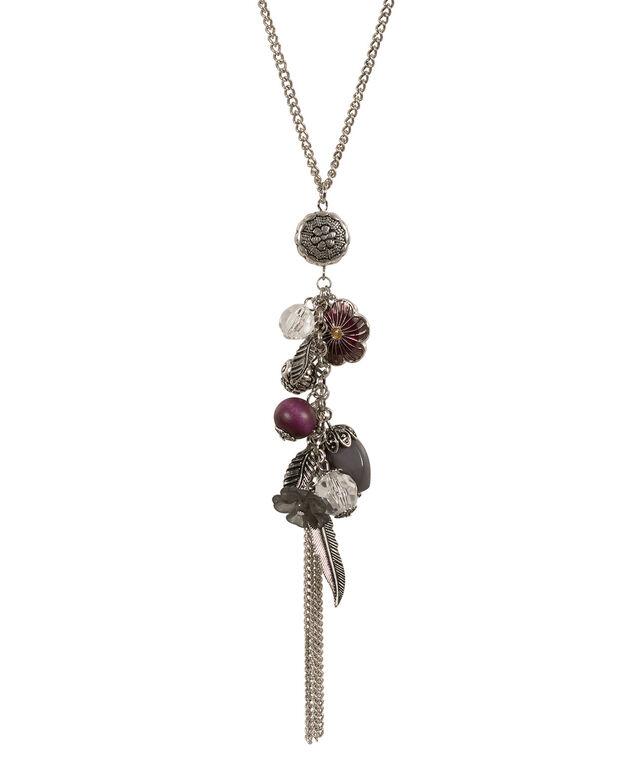 Leaf Flower Cluster Necklace, Purple/Green/Burnished Silver, hi-res