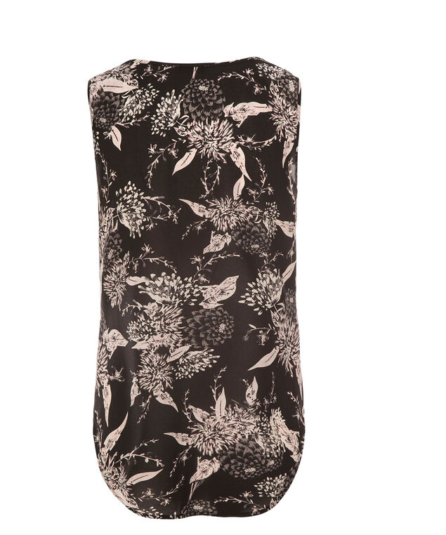 Ruffle Front Blouse, Grey/Pink Print, hi-res