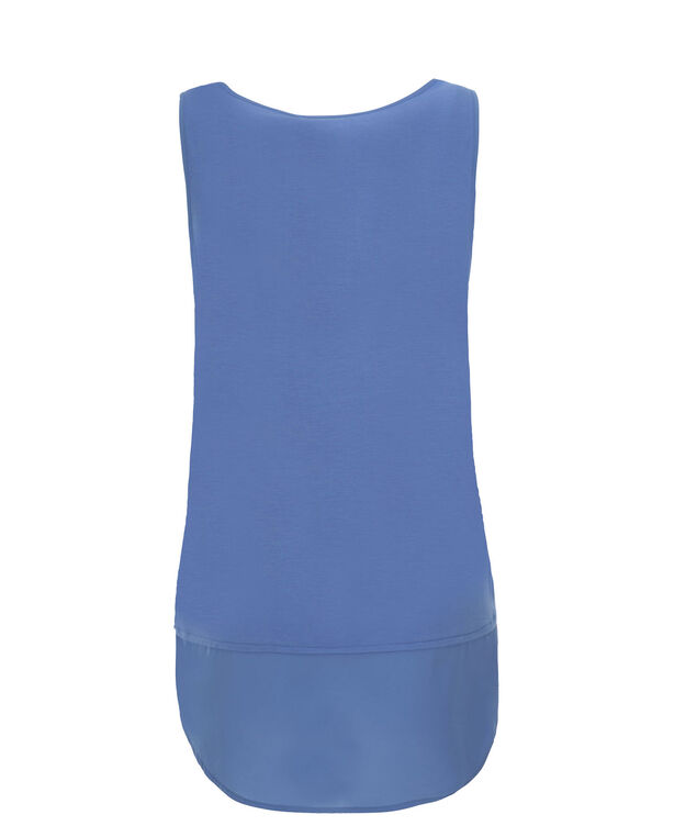Chiffon Hem Textured Tank, Sea Blue, hi-res