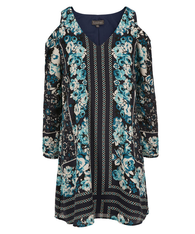 Luxology Cold Shoulder Trapeze Dress, Navy Print, hi-res