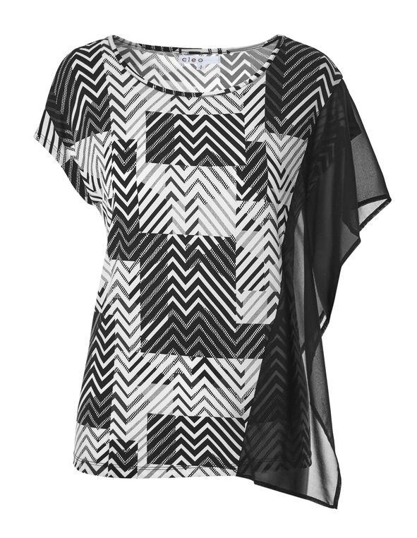 Zig Zag Chiffon Sleeve Top, Black/White, hi-res