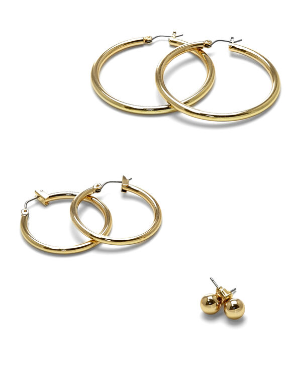 Shiny Gold Trio Earring Set, Gold, hi-res