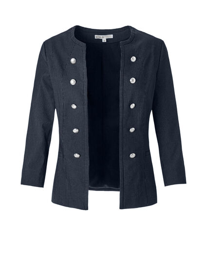 Pinstripe Military Suiting Blazer, Navy/White, hi-res
