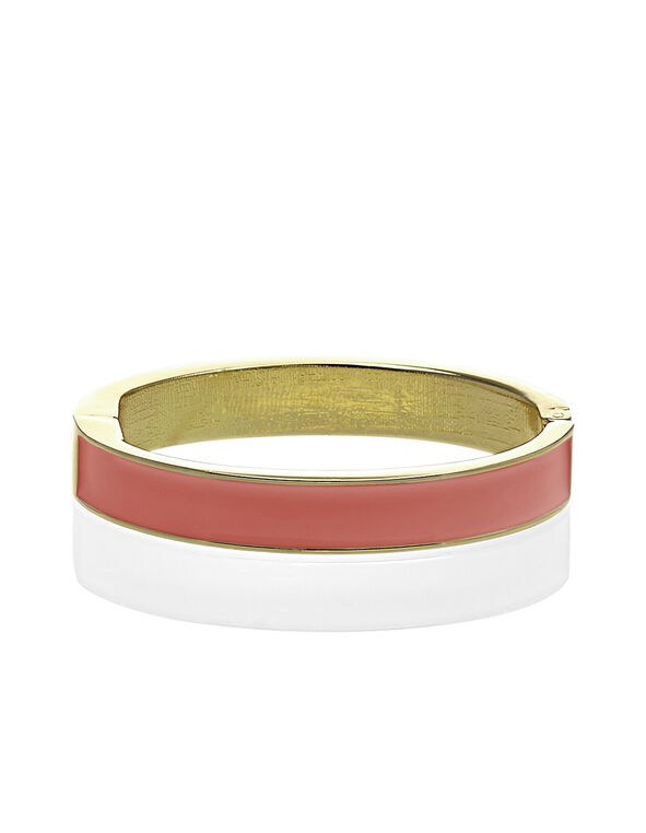Coral Bangle Bracelet, Gold/Coral, hi-res