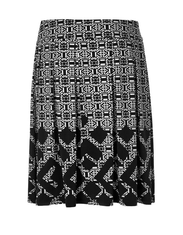 Black Geometric Flippy Skirt, Black/White, hi-res