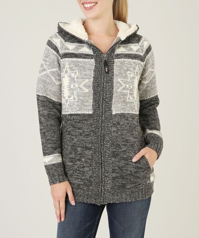 zip up striped cardi - wb, HEATHER CHARCOAL, hi-res