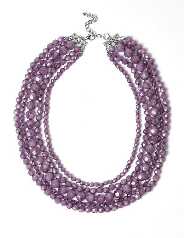 Purple Bead Necklace, Purple, hi-res