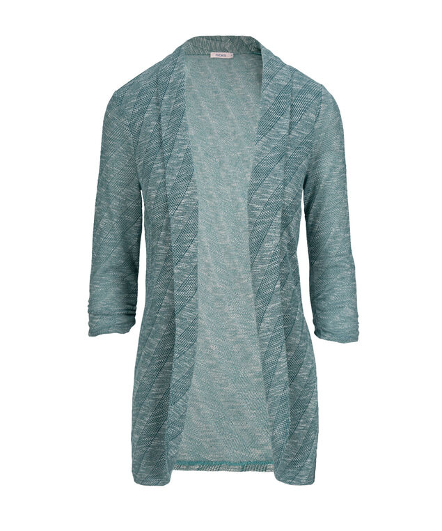 Chevron Shawl Collar Cover Up, Mid Teal Mix, hi-res