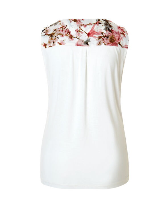 Printed Ruffle Front Top, Soft Pink/Grey/White, hi-res