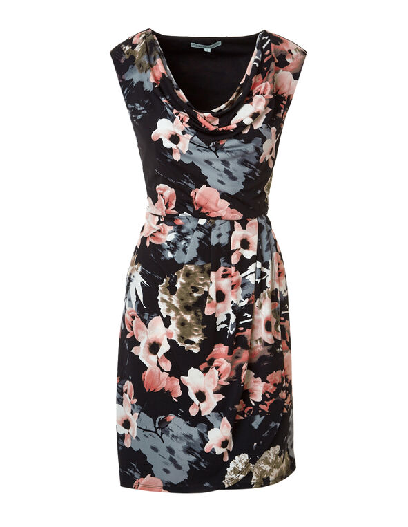 Floral Cowl Neck Shift Dress, Black/Pink Sand/Grey, hi-res