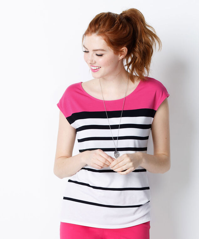 Striped Colourblock Tee, White/Black/Pink, hi-res