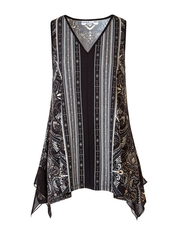 Paisley Stripe Sharkbite Tunic, Black/Stone/Mushroom, hi-res