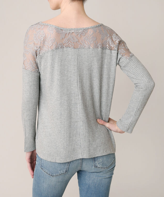 waffle top with back lace yoke, LIGHT GREY, hi-res