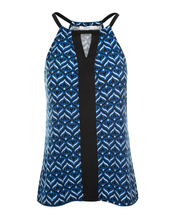 Keyhole Halter Top, Blue Print, hi-res