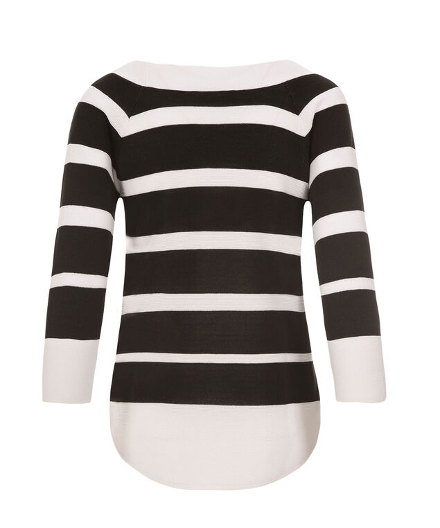 Wide Stripe Pullover, Black/White, hi-res
