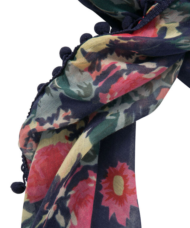 Pom Pom Floral Scarf, Navy/Pink/Blue, hi-res
