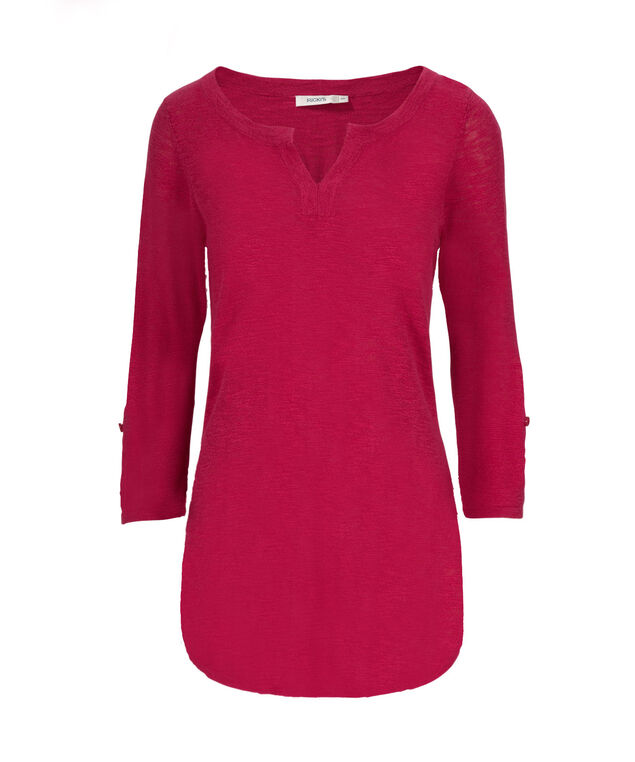 Roll Cuff Pullover Henley, Mid Pink, hi-res