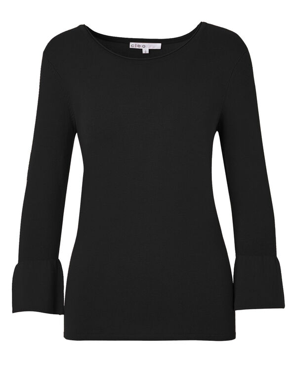 Black Bell Sleeve Sweater, Black, hi-res