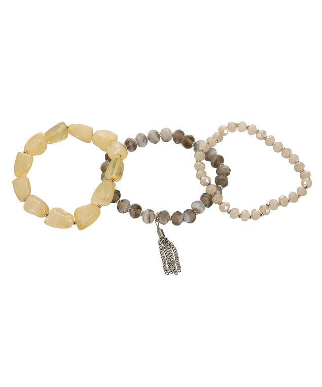Natural Stone Bracelet Set, Yellow/Burnished Silver, hi-res