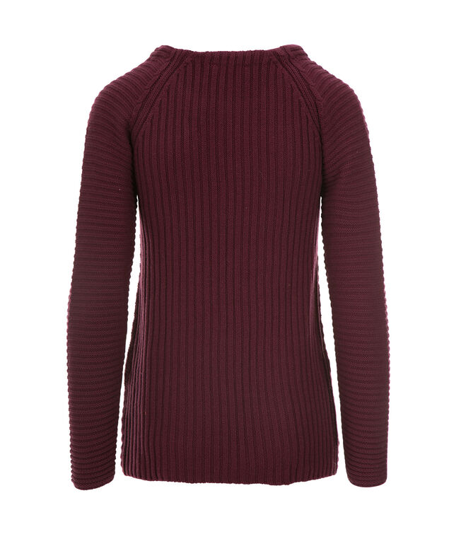 Cable Front Pullover Sweater, Wineberry, hi-res