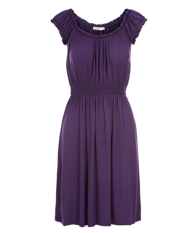 Smocked Waist Dress, Purple, hi-res