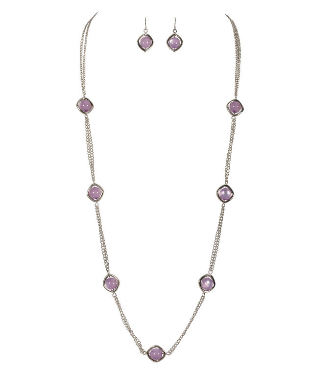 Stationed Circle Necklace Set, Iced Violet/Rhodium, hi-res