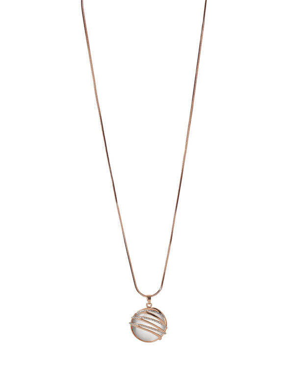 Ivory Cat Eye Pendant Necklace, Rose Gold/Ivory, hi-res