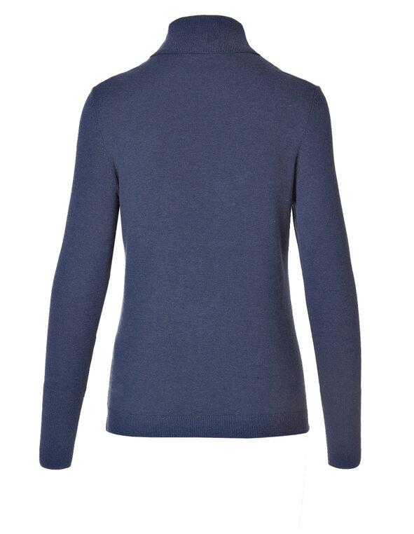 Petrol Blue Essential Turtleneck Sweater, Petrol Blue, hi-res