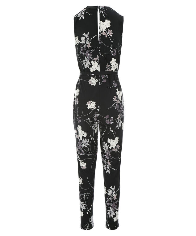 Floral Printed Jumpsuit, Black/Grey, hi-res