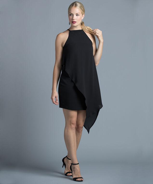Chiffon Overlay Dress, Black, hi-res