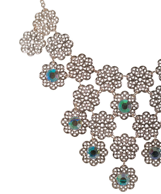 Cutout Floral Statement Necklace, Rose Gold, hi-res