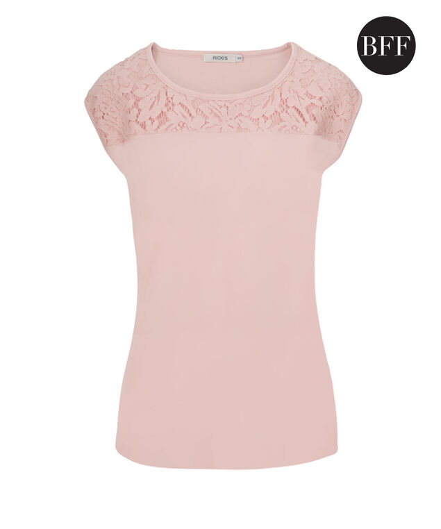 Extended Sleeve Lace Detail Top, Misty Pink, hi-res