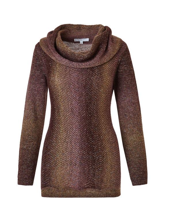 Zig Zag Knit Cowl Sweater, Cinnamon/Pink, hi-res