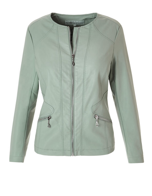 Mint Ribbed Pleather Jacket, Mint, hi-res
